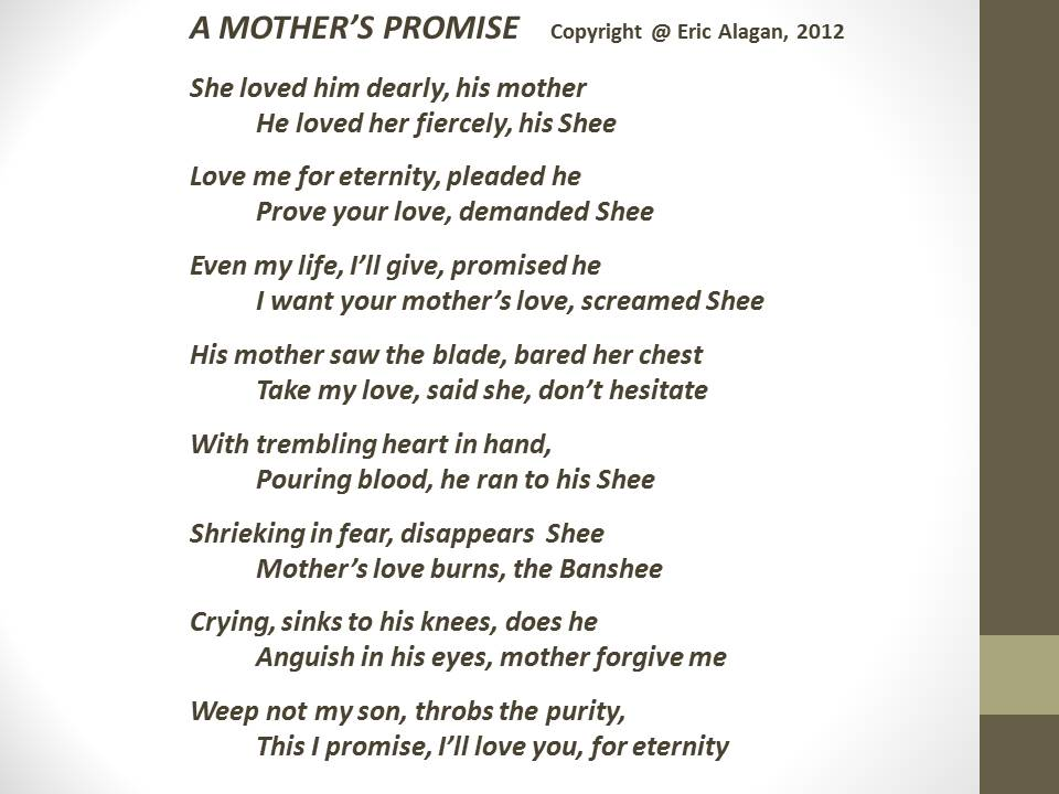 Mothers Love Poem a mothers promise written words never die